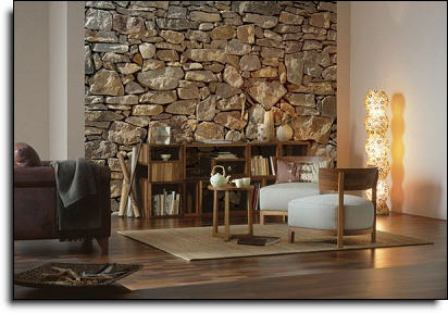 stone wall mural roomsetting