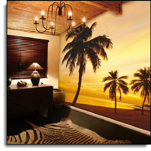 Island Sunset Wall Mural