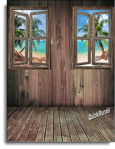 beach Cabin Window #4 Wall Mural roomsetting