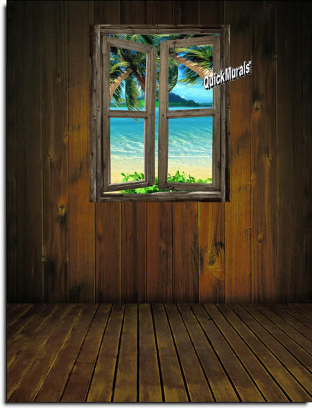 beach Cabin Window #7 Wall Mural roomsetting