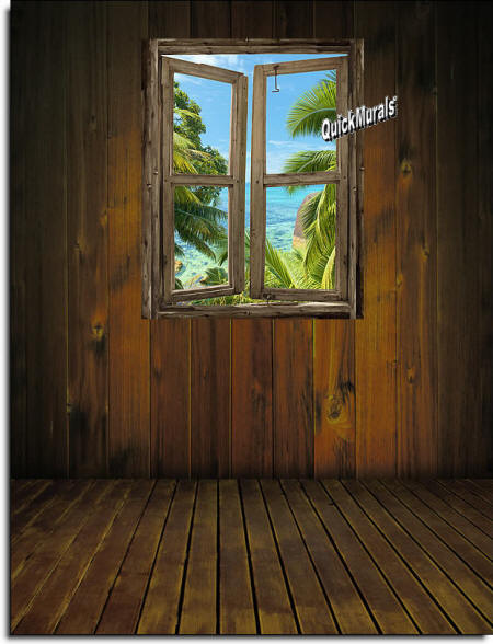 beach Cabin Window #8 Wall Mural roomsetting