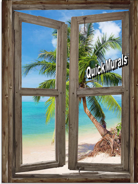 beach Cabin Window #4 Wall Mural