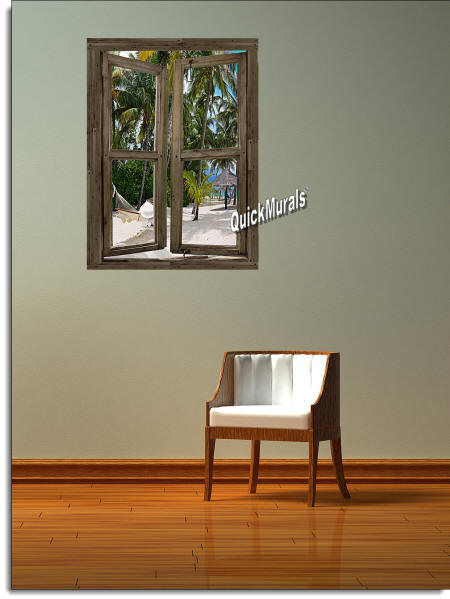 beach Cabin Window #1 Wall Mural roomsetting
