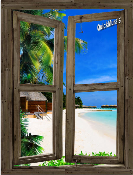 beach Cabin Window #9 Wall Mural