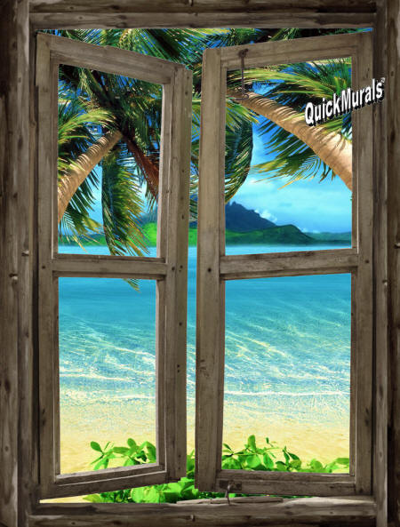 beach Cabin Window # Wall Mural