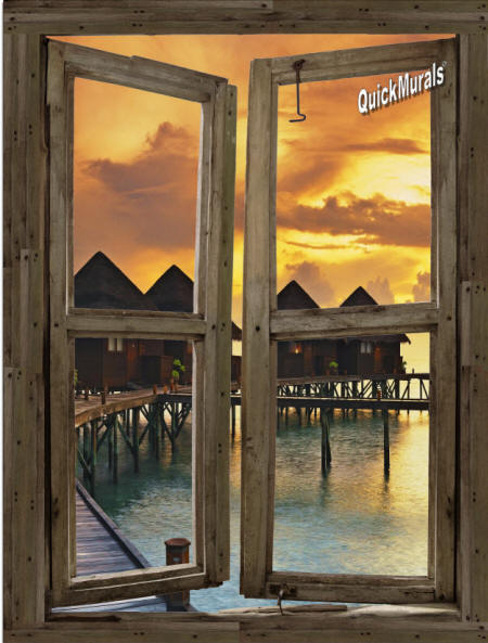 Beach Resort Sunset Window