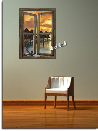 Beach Resort Sunset Window Wall Mural Roomsetting