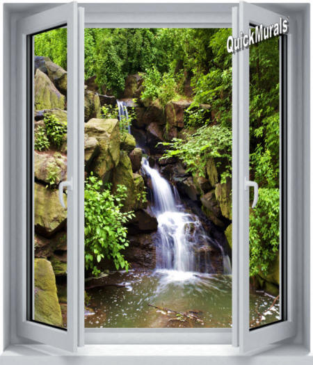Black Forest Waterfall Window Wall Mural