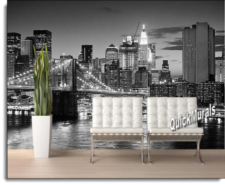 Brooklyn Bridge black and white Wall Mural roomsetting