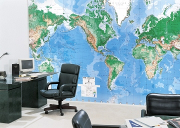 Laminated World Map Wall Mural C900 roomsetting
