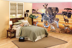 Safari 2 wall mural roomsetting