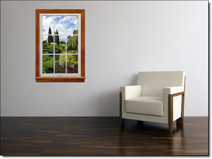 Garden Lake Window Wall Mural Roomsetting