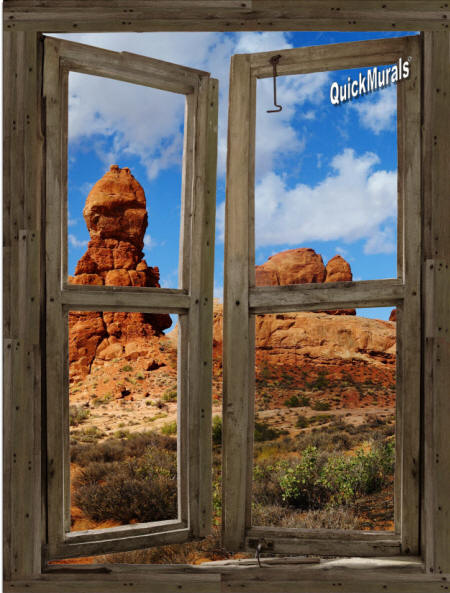 Desert Canyon Cabin Window Wall Mural