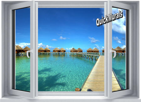 Maldives Resort Window Wall Mural