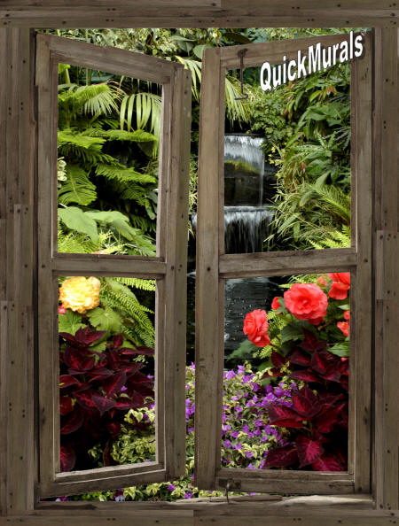 Waterfall Cabin Window #5 Wall Mural