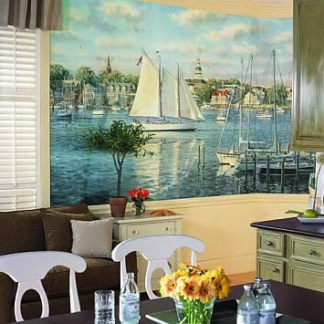 harbor view wall mural