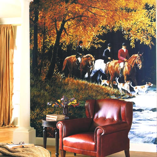 Traditional Hunt Scene Wall Mural roomsetting