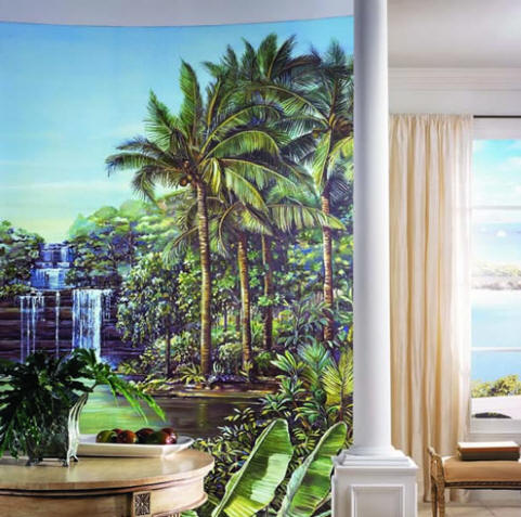 Tropical Lagoon Wall Mural roomsetting