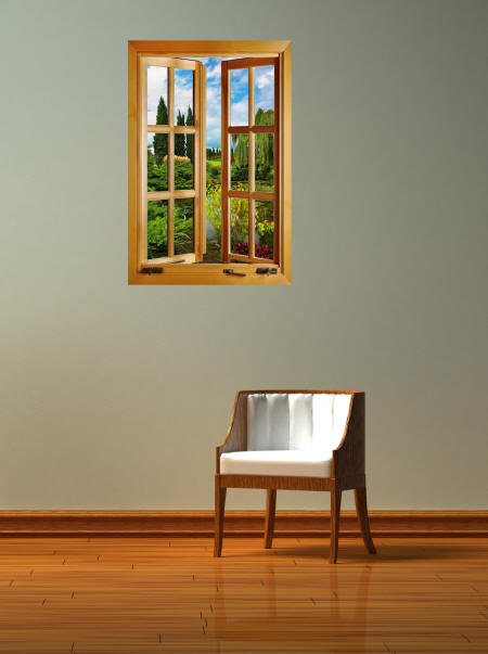 Lago De Jardin Window Wall Mural Roomsetting