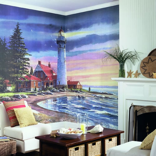 Northern Lighthouse Wall Mural roomsetting