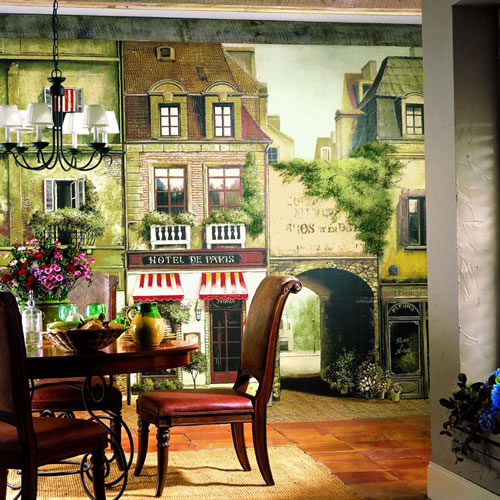 La Rue De Paris Wall Mural roomsetting