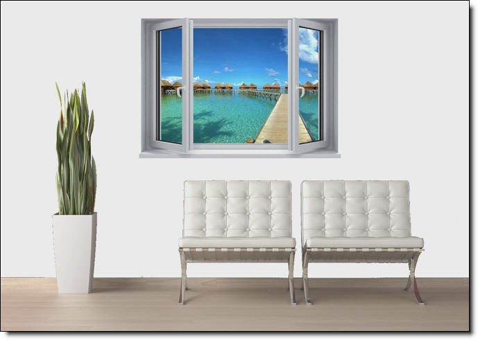 Maldives Resort Window Wall Mural roomsetting