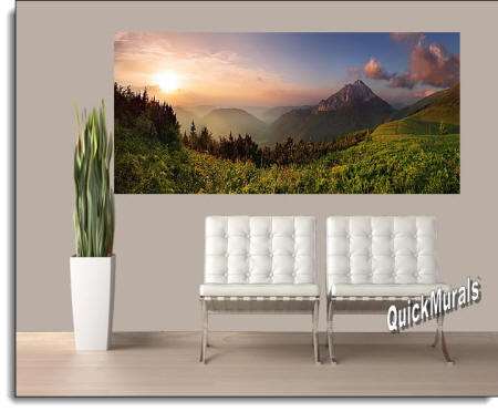 Mountain Sunrise Mural Roomsetting