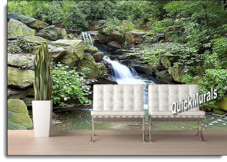 Mountain Waterfall mural roomsetting