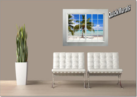 Palm Beach Window Wall Mural Roomsetting