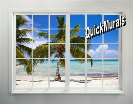 Palm Beach Window Wall Mural