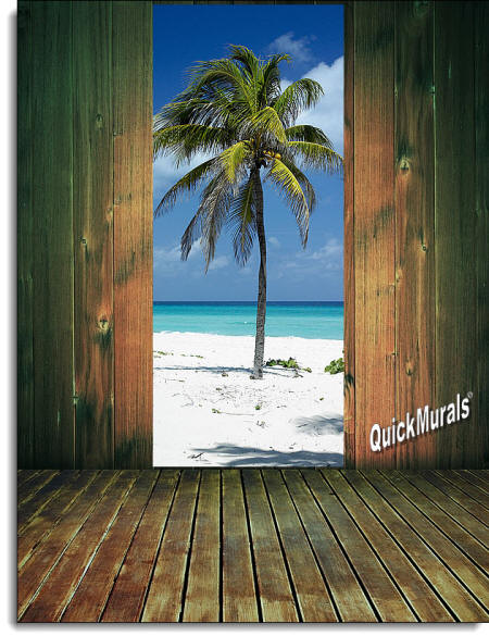 palm tree door/wall Mural roomsetting