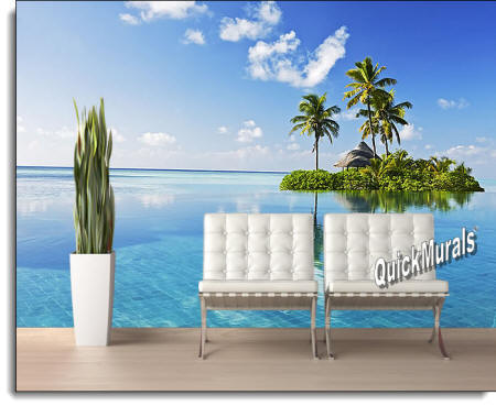 Paradise Island Wall Mural Roomsetting