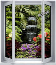 Floral Waterfall Window Mural