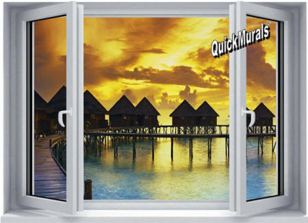 Sunset Resort Window Wall Mural