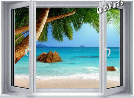 Secluded Beach Window Wall Mural