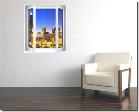 Skyline Window Wall Mural Roomsetting