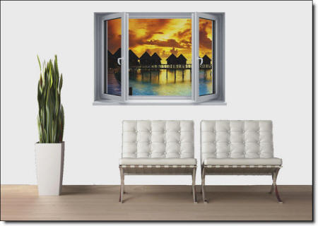 Sunset Resort Window Wall Mural roomsetting