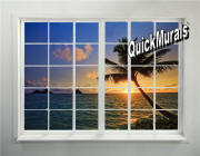 tahiti sunset window mural