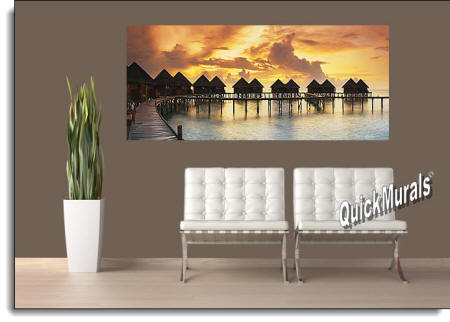 Tiki Resort Sunset Wall Mural Roomsetting