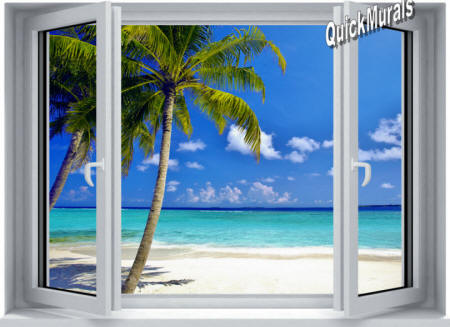Tropical Ocean Window Wall Mural