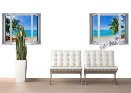 Tropical Palm Window #2 Wall Mural room