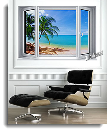 Tropical Palm WINDOW MURAL ROOMSETTING