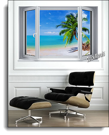 Tropical Palm Window #2 Wall Mural ROOMSETTING