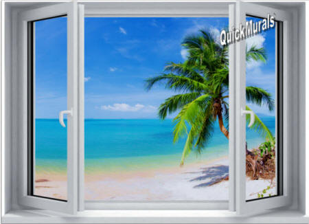 Tropical Palm Window #2 Wall Mural