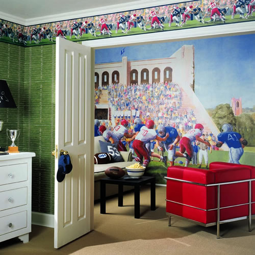 Football Stadium Wall Mural roomsetting