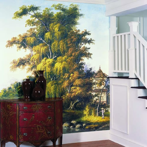 Asian Water Scene Wall Mural roomsetting