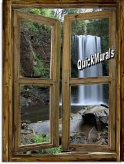 waterfall cabin window mural 2