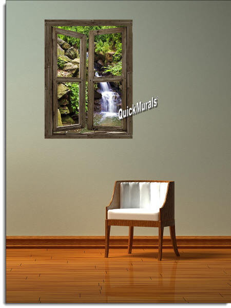 Waterfall Cabin Window #3 Wall Mural roomsetting