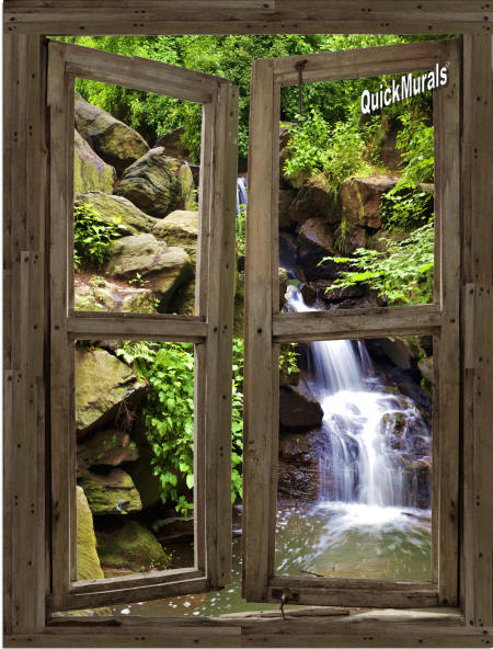 Waterfall Cabin Window #3 Wall Mural