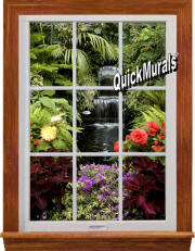 waterfall garden window mural